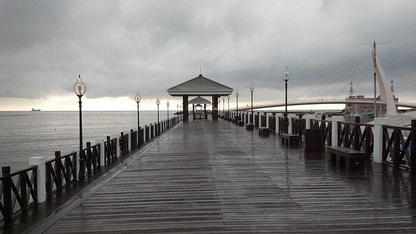 Rainy Day, Pier, Ocean, Dock, Weather, Shore, Wet
