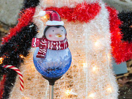 Winter, Christmas, Decorations, Lights, Penguin, Hat