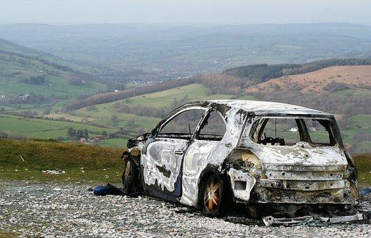 Wreck, Car, Burnt, Wales
