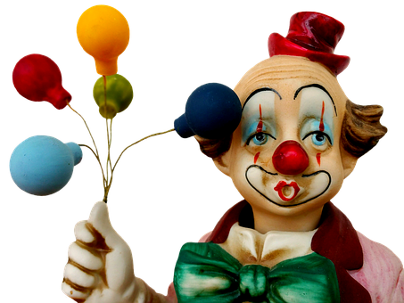 Statuette, Clown, Ballons, Colorful, Funny, Balloons