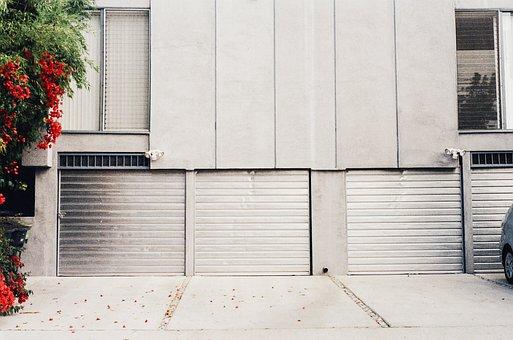 Garage Doors, Driveway, Flowers, Flower Petals