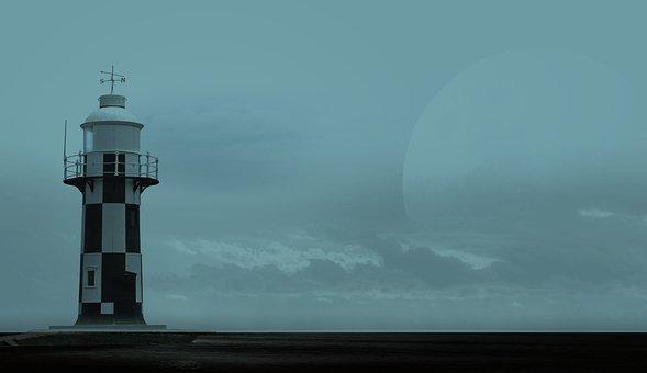 Lighthouse, Moon, Sea, Clouds, Light, Mystical