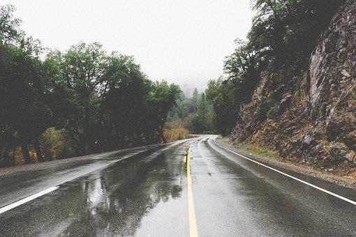 Road, Puddles, Wet, Rain, Rural, Rocks
