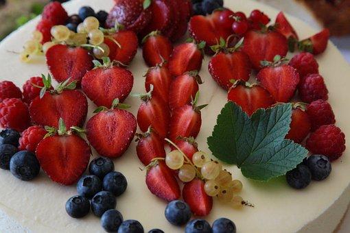 Strawberries, Blueberries, Raspberries, White Currants