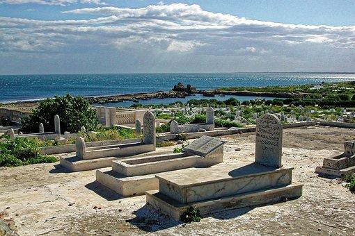 Cemetery, Mahdia, Tunisia, Mediterranean, Sky, Water