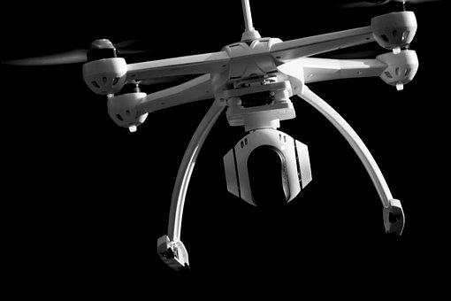 Drone, Quadrocopter, Black And White, Black Background