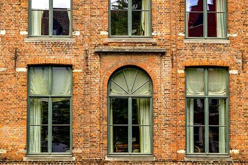Building, Facade, Window, Brick, Architecture, Bruges