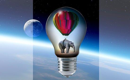 Elephant, Balloon, Pear, Light Bulb, Clouds, Moon