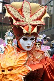 Mask, Orange, Carnival, Colorful, Panel, Wig, Costume