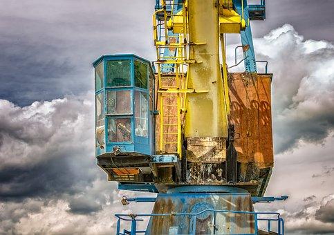 Crane, Port, Lost Place, Harbour Crane, Lifting Crane