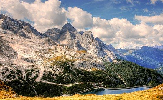 Marmolada, Dolomites, Italy, Mountains, Alpine, Clouds