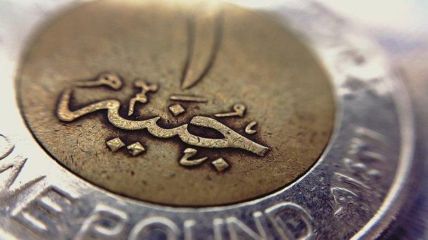 One, Pound, Egyptian, Macro, Coin, Arabic, Gold, Silver