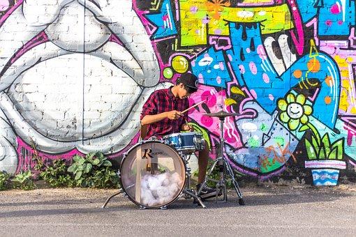 Drummer, Grafiti, Gangstar, Drums, Planel, Shirt