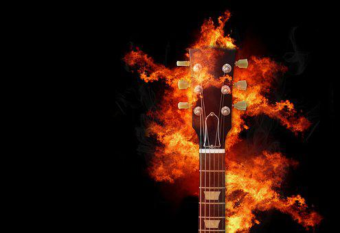 Guitar, Fire, Music, Flame, Instrument, Flaming