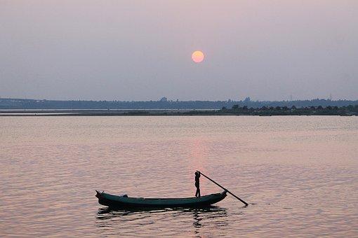 Boat Man, Boat, Man, River, Sunset, India, Lake