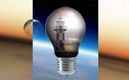 Lighthouse, Moon, Space, Clouds, Light, Pear, Thread