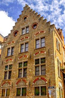 Building, Facade, Brick, Architecture, Medieval, Bruges
