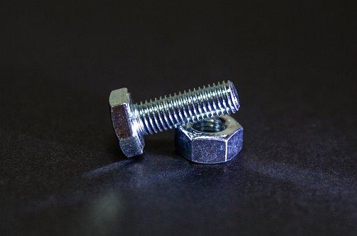 Nut, Bolt, Metal, Screw, Metallic, Shiny, Macro