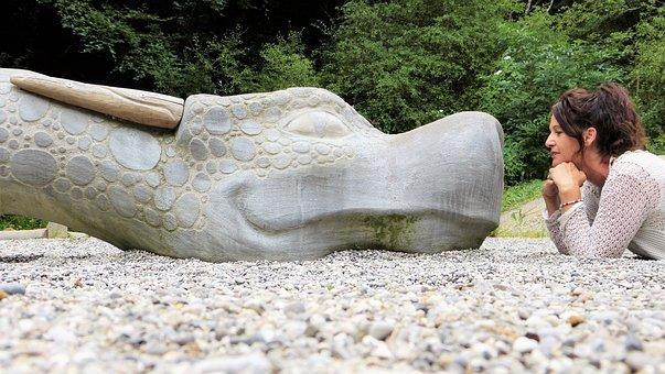 Dragon, Woman, Human, Stone, Pebble, Stones, Concerns