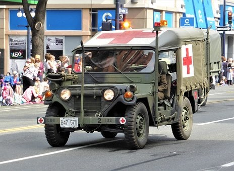 Vehicle, Jeep, Ambulance, Red Cross, War, Oldtimer