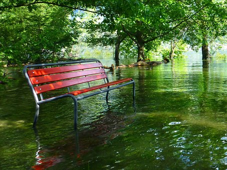 Red Park Bench, High Water, Lago Maggiore