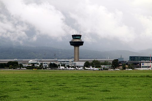 Salzburg, Airport, Aviation, Runway, Aircraft, Tower