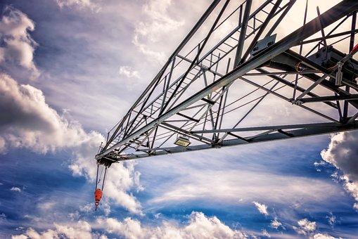 Crane, Mast, Scaffold, Lattice, Sky, Build