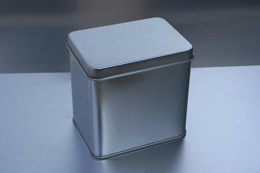 Tin Can, Metal Box, Christmas Box, White Tin Can