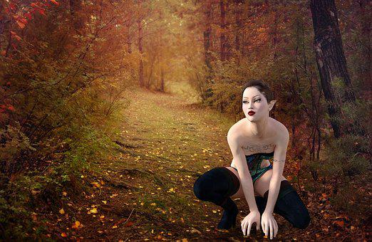 Forest, Fantasy, Woman, Surreal, Trees