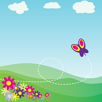 Clouds, Sky, Mountains, Flowers, Butterfly, Valley