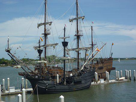 Pirate Ship, Sailing, Old, Vessel, Ocean