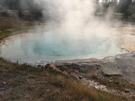 Yellowstone, Hot Springs, Waterfall, Water, Nature
