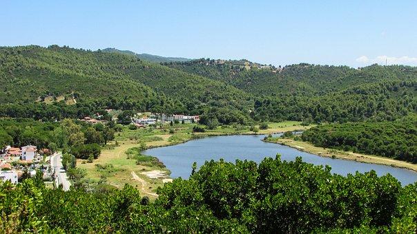 Greece, Skiathos, Strofylia, Biotope, Lagoon, Forest