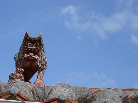 Okinawa, Sky, Roof, Dragon, Stome, Decoration