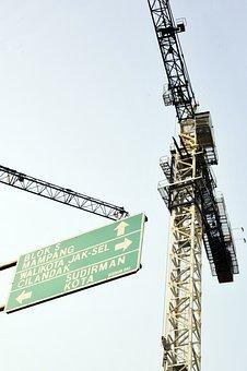 Crane, Construction, Direction, Street, Jakarta
