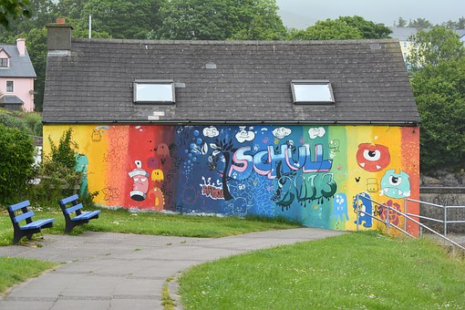 Grafitti, Home, Away, Meadow, Facade, Painted House