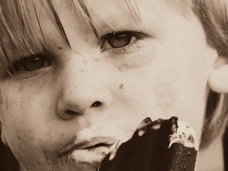 Boy, Ice Cream, Eating, Sepia, Child, Food, Happy