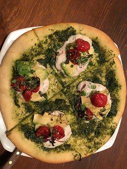 Pizza, Goat Cheese, Pesto, Tomato, Crust, Delicious