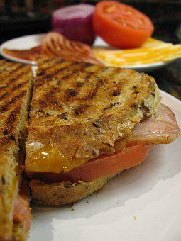 Panini, Sandwich, Grilled, Bread, Cheese, Ham, Lunch