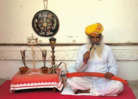 Smoker, Opium, India, Palace, Maharajah, Turbans