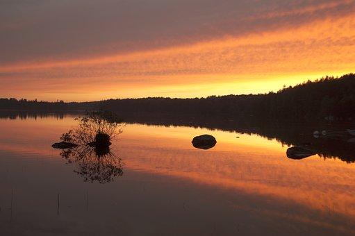 Linden, Lake, Smaland, Sweden, Waldsee, Sunset