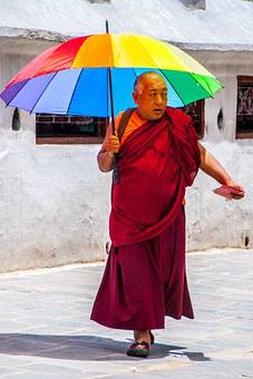 India, Nepal, Asia, Travel, Man, Monk, Umbrells, Street