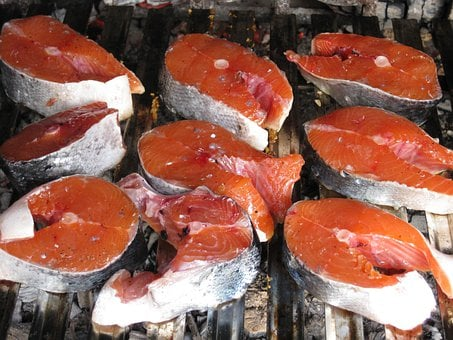 Salmon, Raw, Grilled, Fish, Seafood, Meal, Red