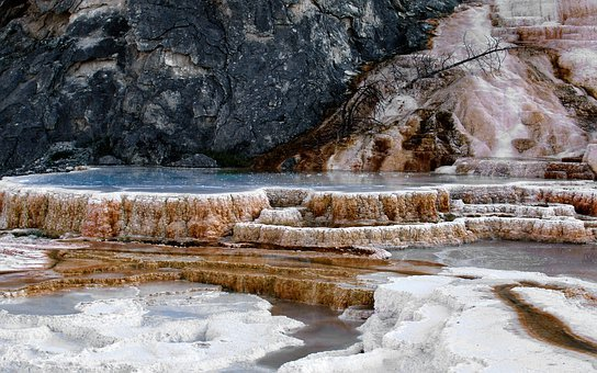 Mammoth, Hot Spring, Terrace, Minerals, Landscape