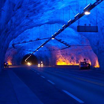 Tunnel, Architecture, Road, Motion, Blue, Panorama
