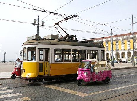Tram, Lisbon, Tuk Tuk, Motorcycle, Road, Portugal