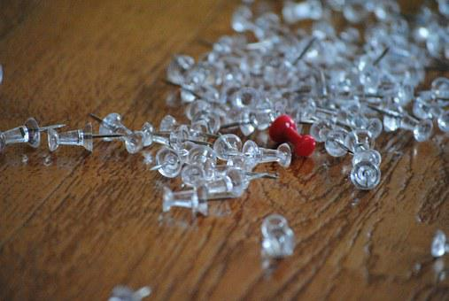 Thumbtacks, White, Paper, Red, Business, Office, Blank