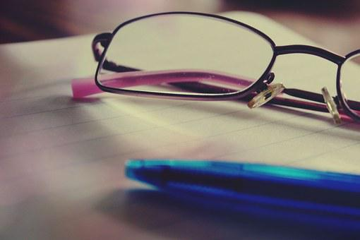 Glasses, Notepad, Pen, Coolie, Note, Office, Block