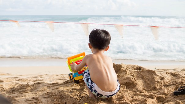 Play, Sand Beach, Hai Bian, Boy, Holidays, Summer