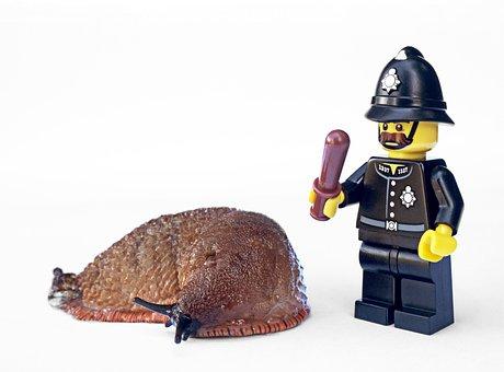 Slug, Policeman, Lego, Garden, Pest, Gardening, Police